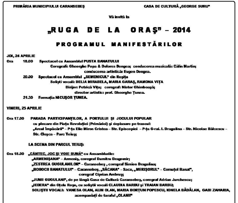program ruga caransebes 2014 - partea 1