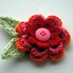 martisor crosetat floare - brosa