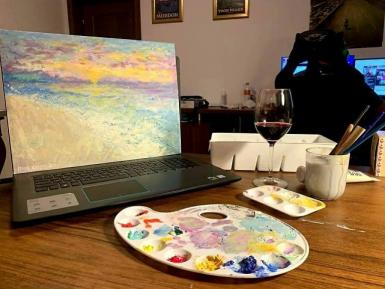 poze wine paint night o u t in online